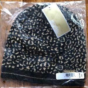 Michael Kors Cheetah Print Beanie Hat Metallic